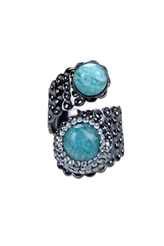 Metal swirling Turquoise Rings R1443 - Silver
