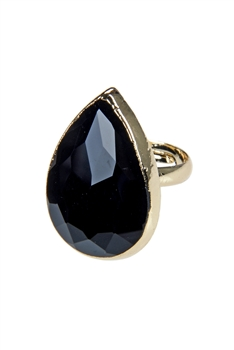Fashion Water Drop Gemstone Crystal Metal Rings R1449 - Black