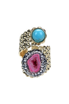 Druzy Stone Turquoise Metal Statement Rings R1459