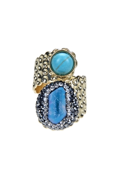 Druzy Stone Turquoise Metal Statement Rings R1459 - Gold