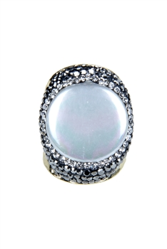 Fashion Mother of Pearl Crystal Metal Rings R1460