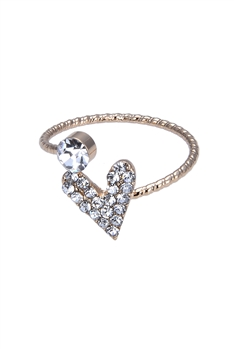 Crystal Heart Shaped Metal Rings R1475