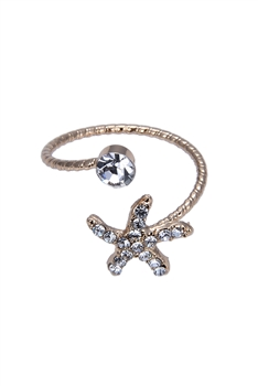Gold Crystal Star Shaped Metal Rings R1476