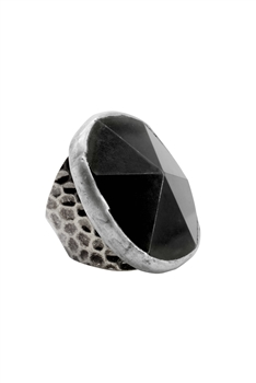 Black Agate Metal Rings R1496
