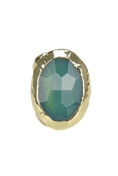 Golden Plated Agate Metal Rings R1500 - Green