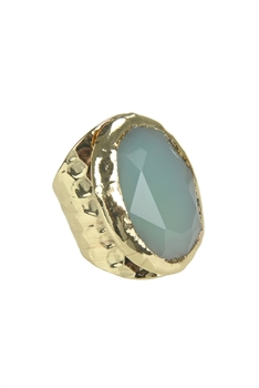 Golden Plated Agate Metal Rings R1500 - Turquoise
