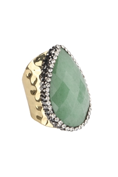 Teardrop Opal Cuff Rings R1510 - Green