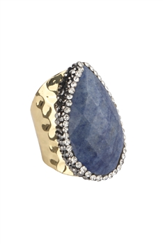 Teardrop Opal Cuff Rings R1510 - Navy