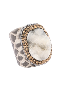 Leatherette Druzy Crystal Ring R1519 - White
