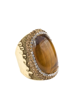 Tiger Eye Metal Rings R1528