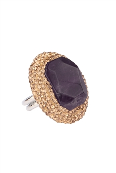 Natural Stone Ajustable Rings R1534 - Purple