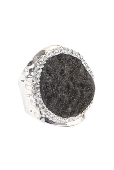 Druzy Stone Metal Rings R1541 - Grey