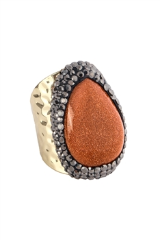 Goldsand Stone Metal Rings R1542