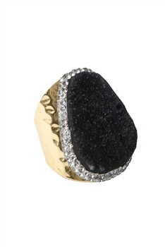 Druzy Stone Metal Rings R1543 - Black