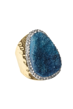 Druzy Stone Metal Rings R1543 - Blue