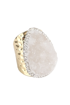 Druzy Stone Metal Rings R1543 - White