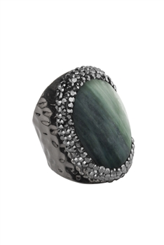 Green Calcite Metal Rings R1563