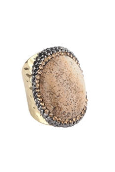 Picture Jasper Metal Rings R1564