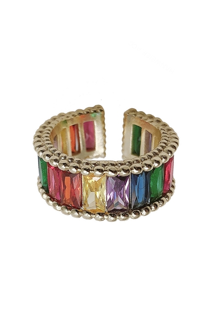 Rainbow Crystal Adjustable Rings R1583