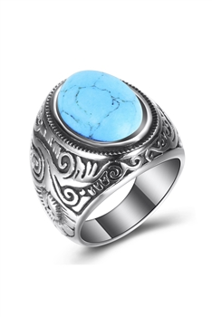 Turquoise Stainless Steel Rings R1607 - Turquoise