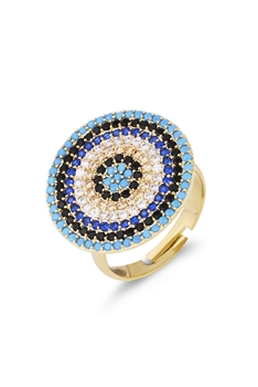 Against Evil Eye Zircon Rings R1609 - Gold