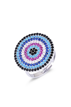 Against Evil Eye Zircon Rings R1609 - Silver