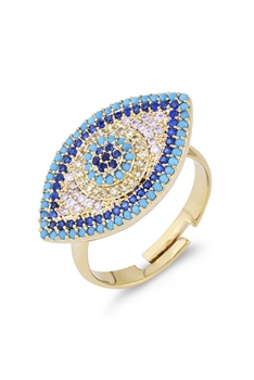 Against Evil Eye Zircon Rings R1611 - Gold