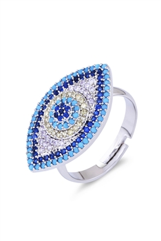 Against Evil Eye Zircon Rings R1611 - Silver