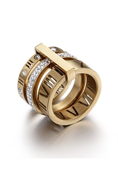 Stainless Steel Roman Numerals Rings R1717-Gold