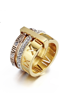 Stainless Steel Roman Numerals Rings R1717-MU