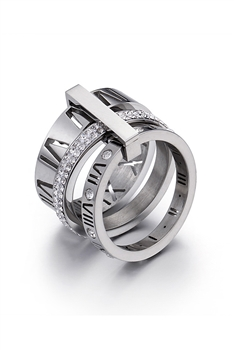 Stainless Steel Roman Numerals Rings R1717-Silver
