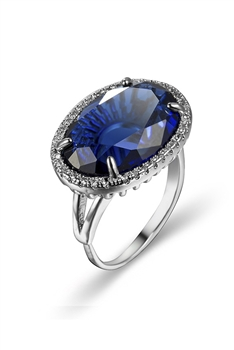 Oval Zircon Copper Adjustable Ring R1763 - Blue
