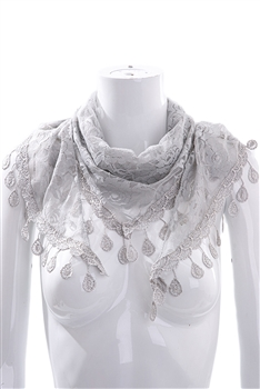 Rose Lace Triangle Scarf S0030 - Grey