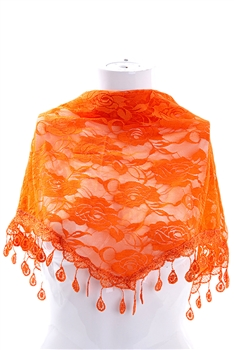Rose Lace Triangle Scarf S0030 - Orange