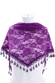 Rose Lace Triangle Scarf S0030 - Purple