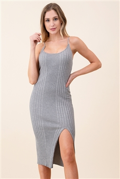 Skinny Knitted Camisole Dress SAD0029 - Grey