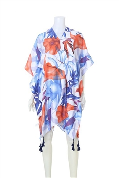 Mulcolor Floral Print Kimono With Tasselss SCA059 - C