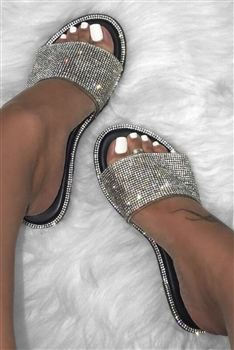 Rhinestone Slippers Sandals SH0014-WH
