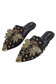 Rhinestone Bee Slippers Sandals SH0021-BK