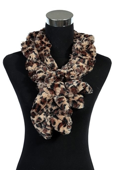 Leopard Faux Fur Scarf SW219 - Brown