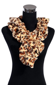Leopard Faux Fur Scarf SW219 - Yellow