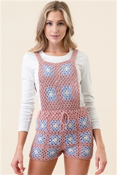Knitted Short Overalls TH0201 - Pink