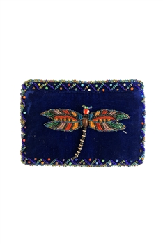 Rectangular Coin Purse V-0708-Dragonfly - Navy