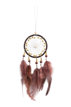 Handmade Dream Catcher Feather W1280 - Brown