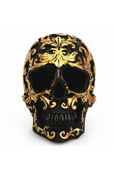 Floral Printed Skull Resin Ornaments Display W1386