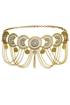 Coin Tassel Waist Chains WA0027 - Gold