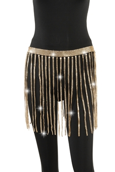 Metallic Sequined Rhinestone Fringed Skirt WA0037 - Gold