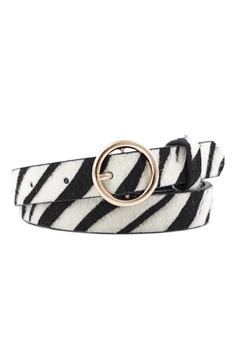 Animal Printed Pu Leather Belt WA0066 - Black-White