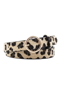 Animal Printed Pu Leather Belt WA0066 - Brown