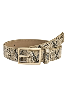 Snakeskin Printed Pu Leather Belt WA0067 - Brown
